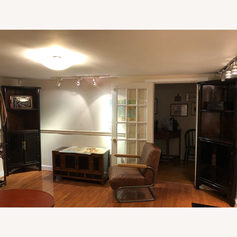 Refurbished Antique Black Corner Cabinets/Shelves - image-1