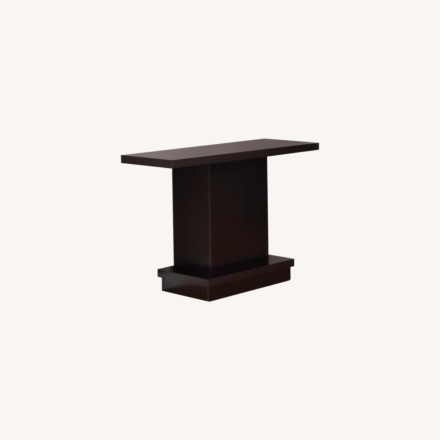 Pedestal-Style Sofa Table In Ric Cappuccino Finish - image-3