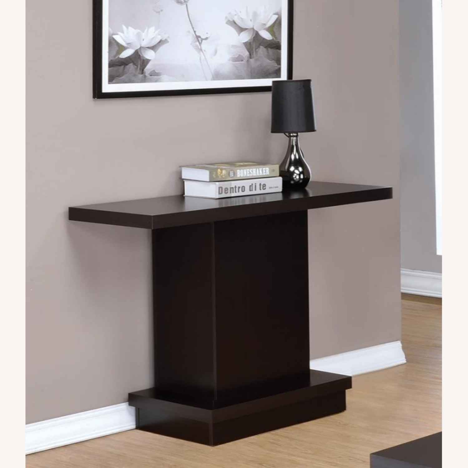 Pedestal-Style Sofa Table In Ric Cappuccino Finish - image-1