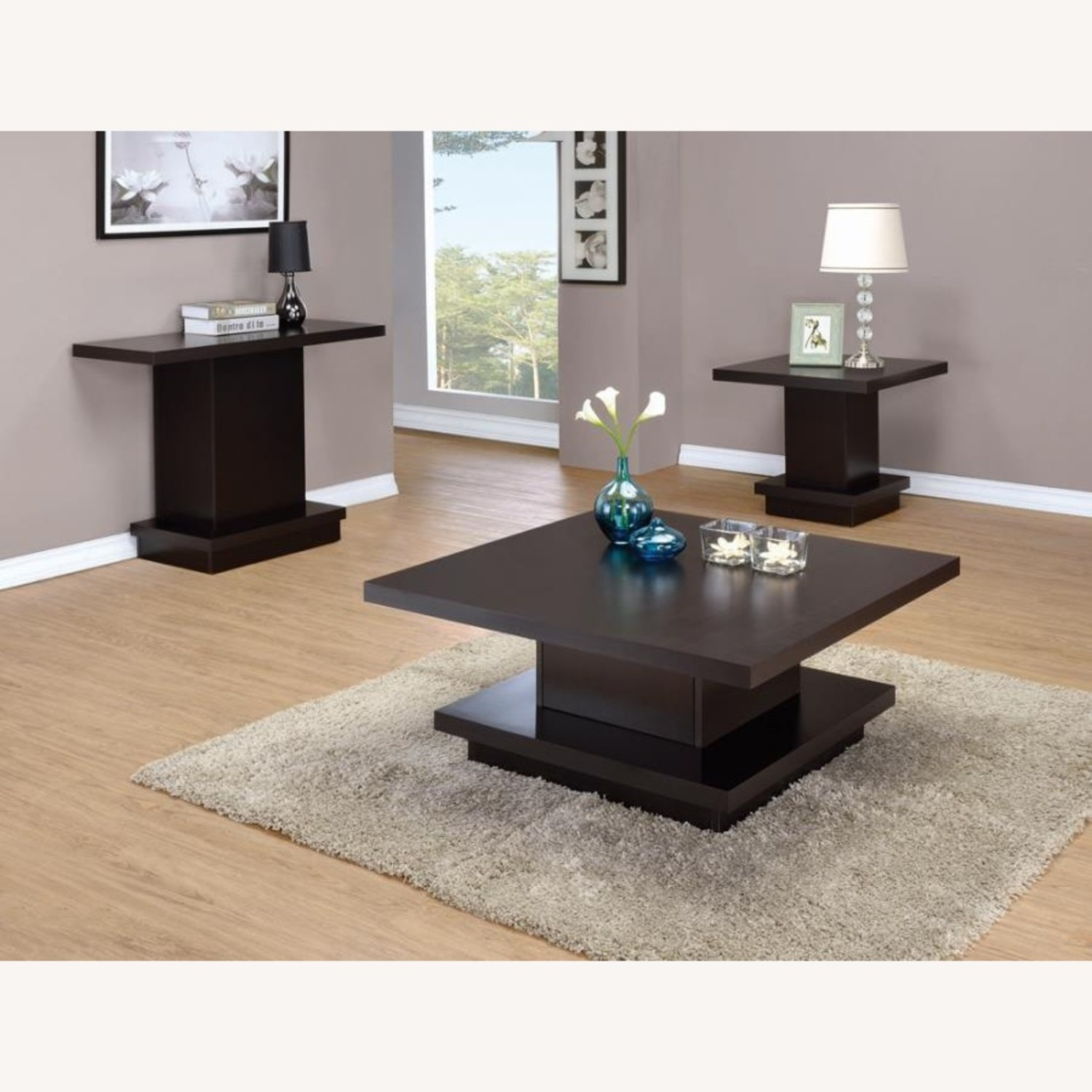 Pedestal-Style Sofa Table In Ric Cappuccino Finish - image-2