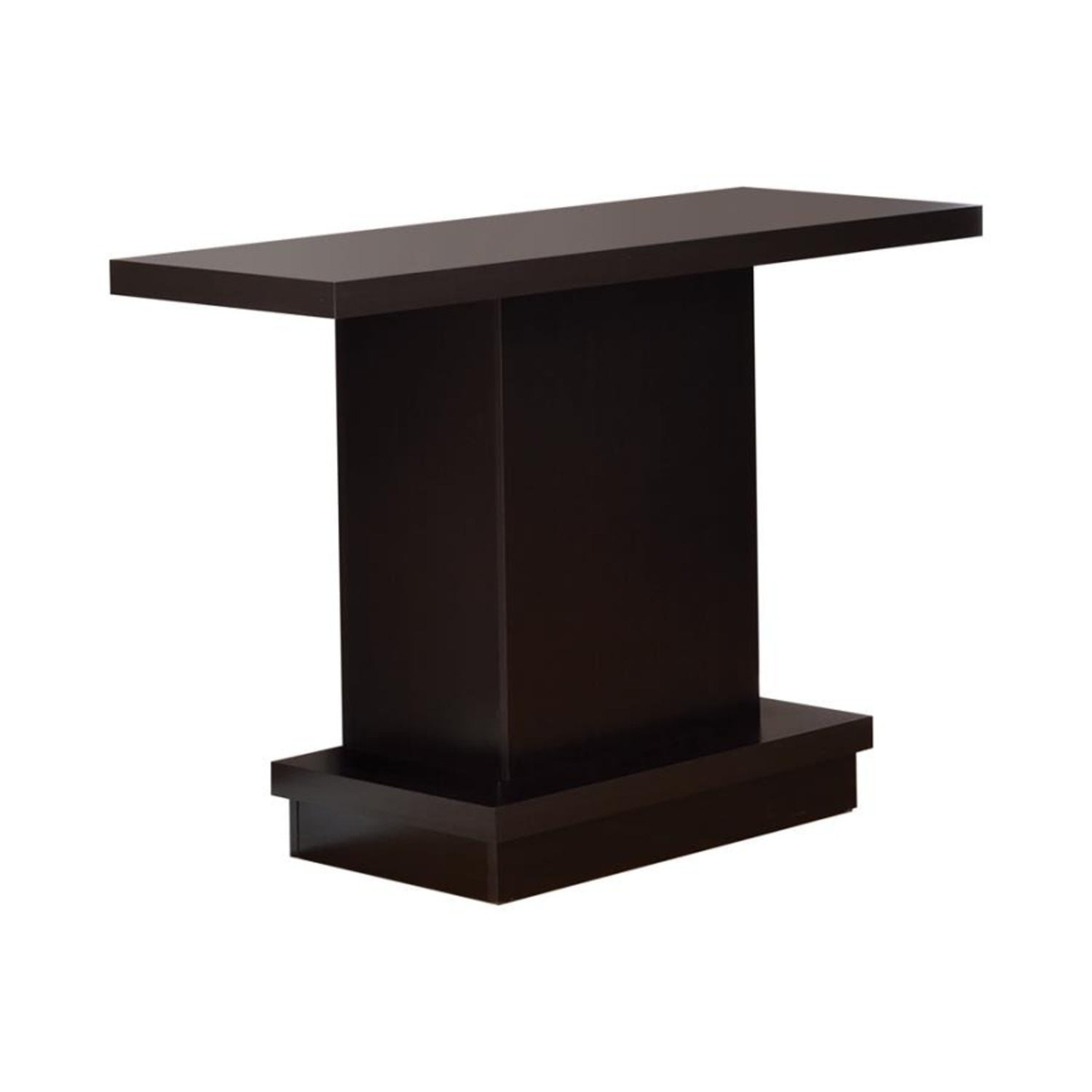 Pedestal-Style Sofa Table In Ric Cappuccino Finish - image-0