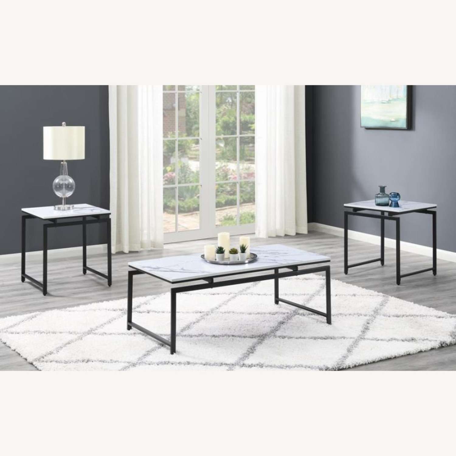 3-Piece Occasional Set In White Faux Marble Finish - image-6