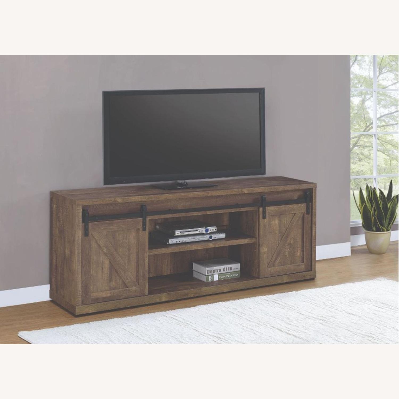 71-Inch TV Console In Rustic Oak Finish - image-2