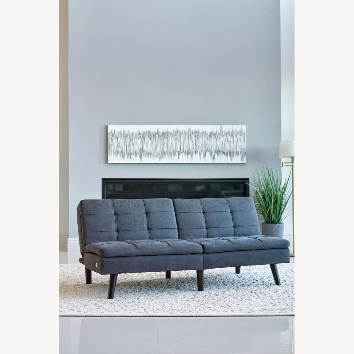 Sofa Bed In Grey Fabric W/ Dual USB Outlet - image-2