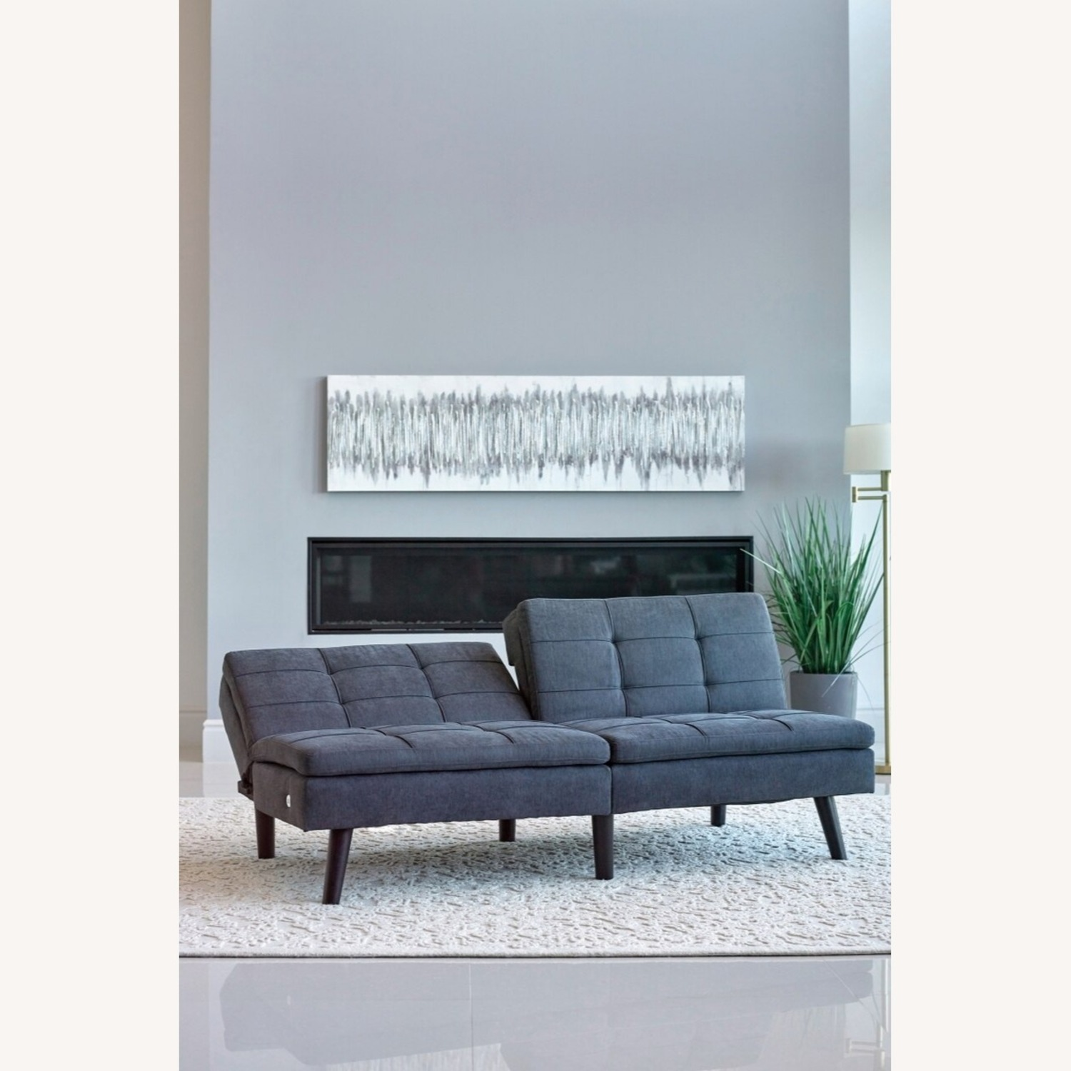 Sofa Bed In Grey Fabric W/ Dual USB Outlet - image-3