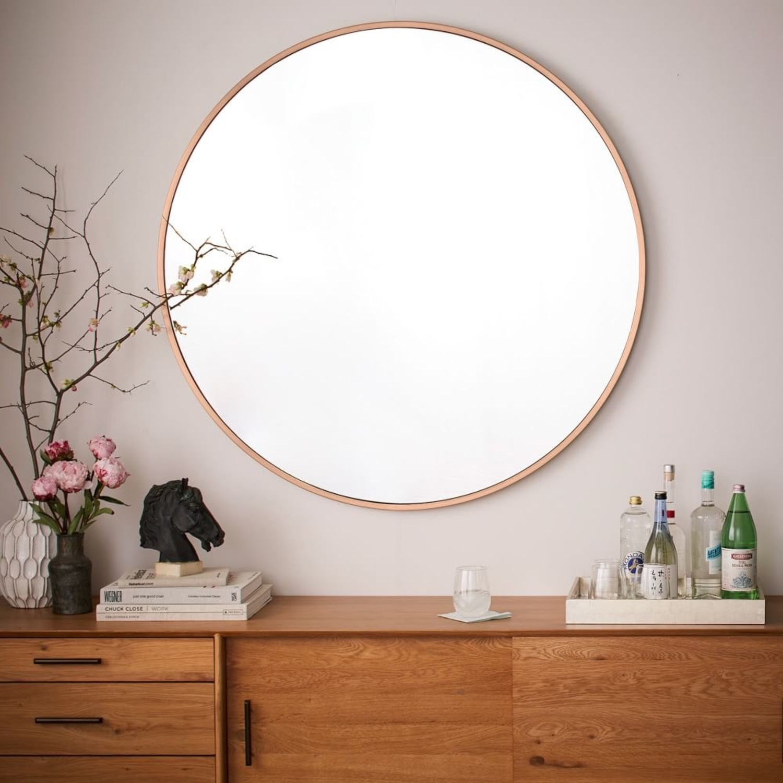 West Elm Metal Frame Round Mirror - image-1