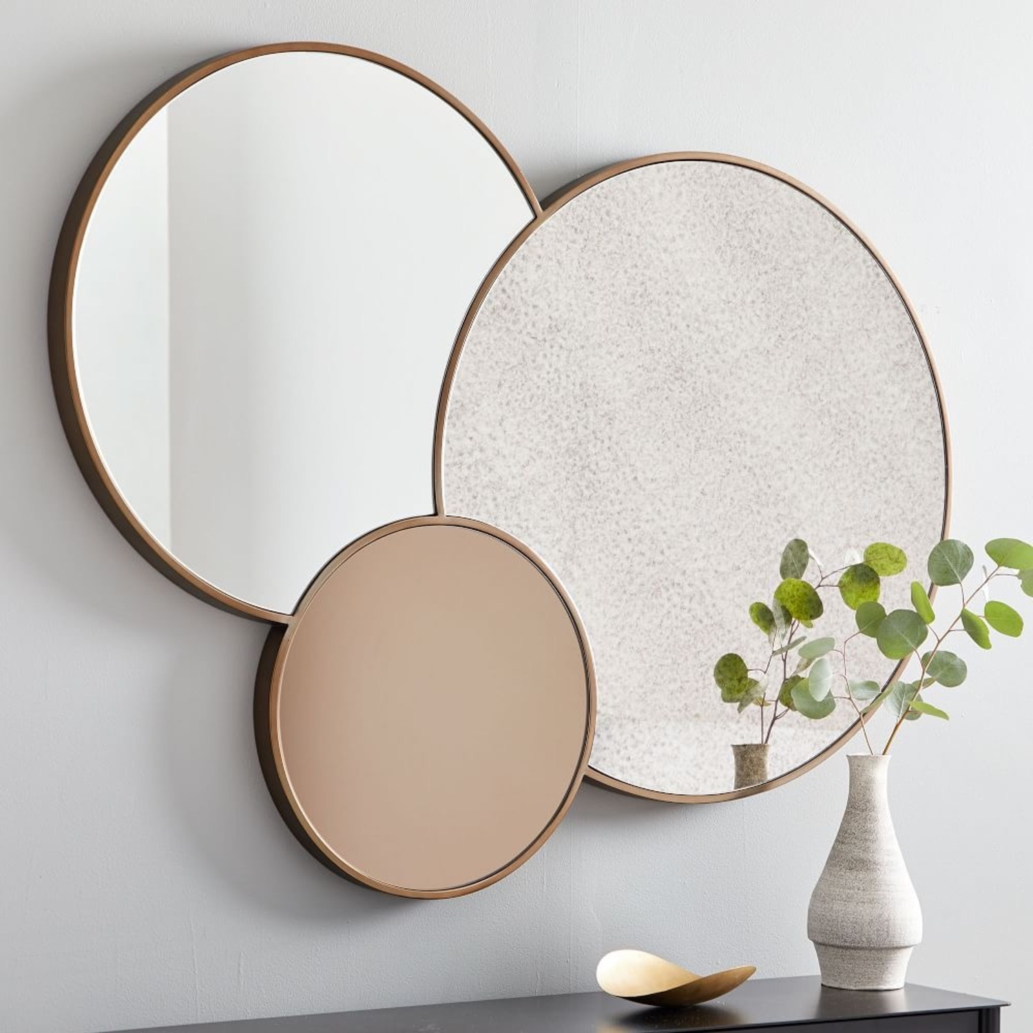 West Elm Foxed Overlapping Trio Mirror - image-1