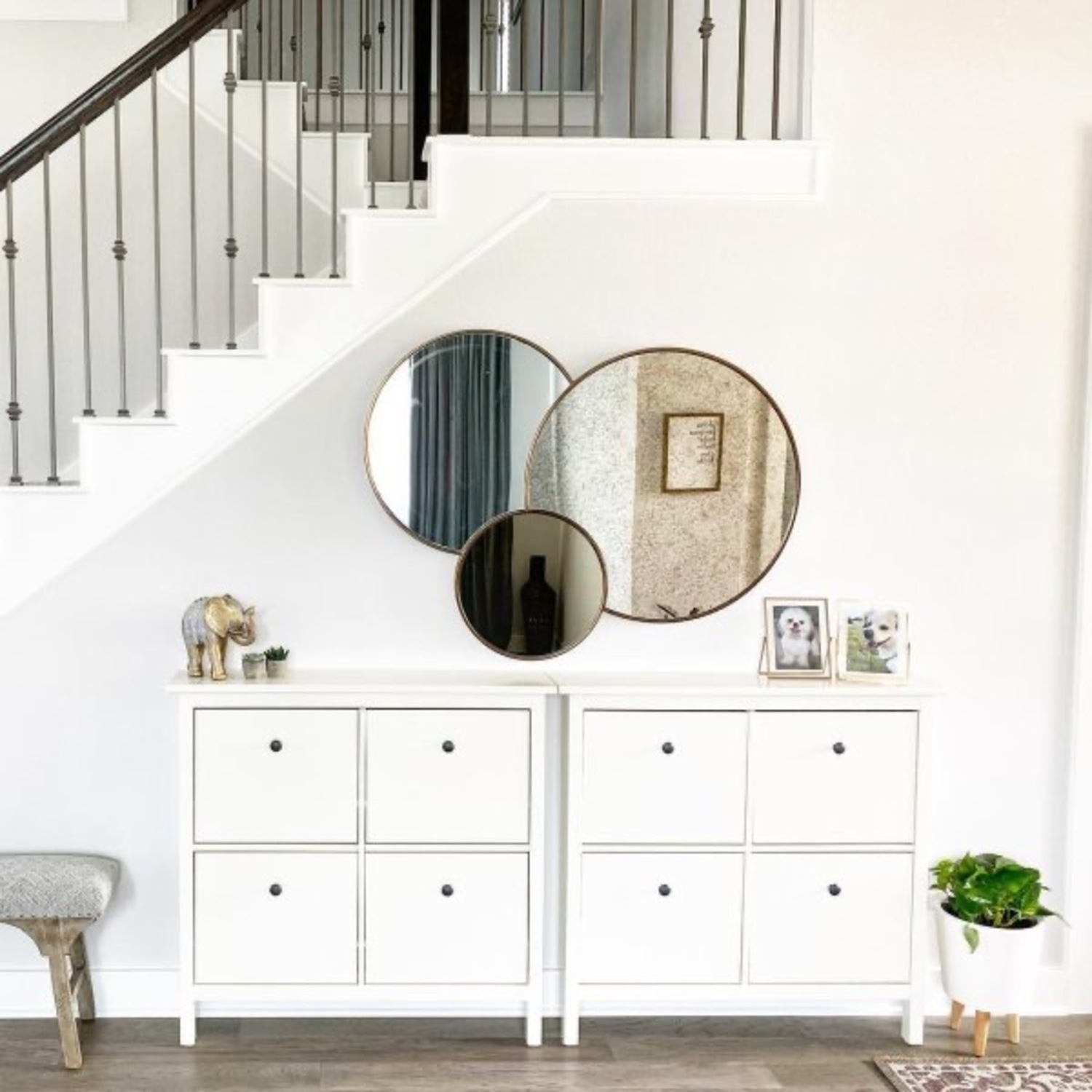 West Elm Foxed Overlapping Trio Mirror - image-4