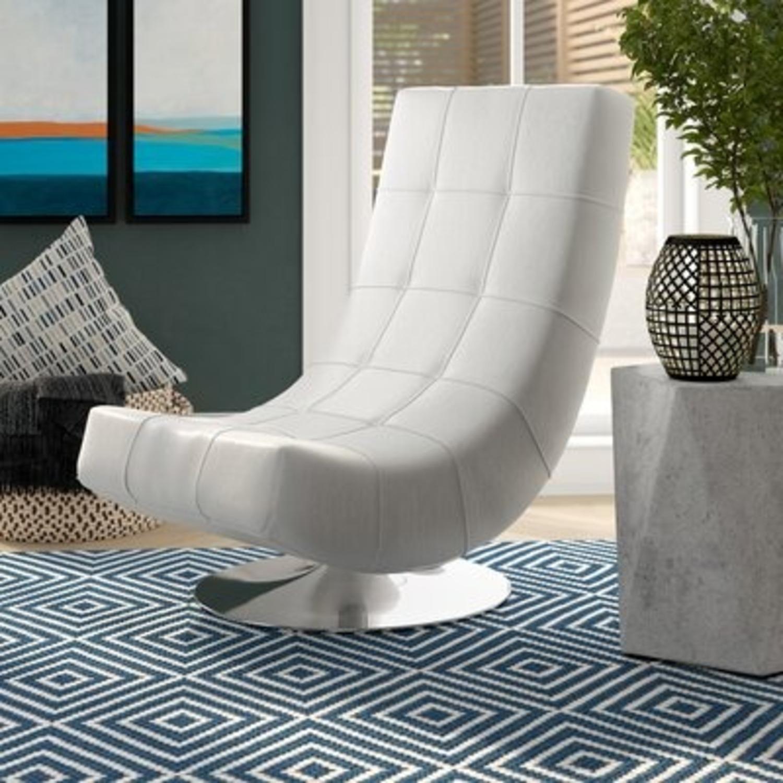 Modern Sleek Swivel Faux Leather Lounge - image-4