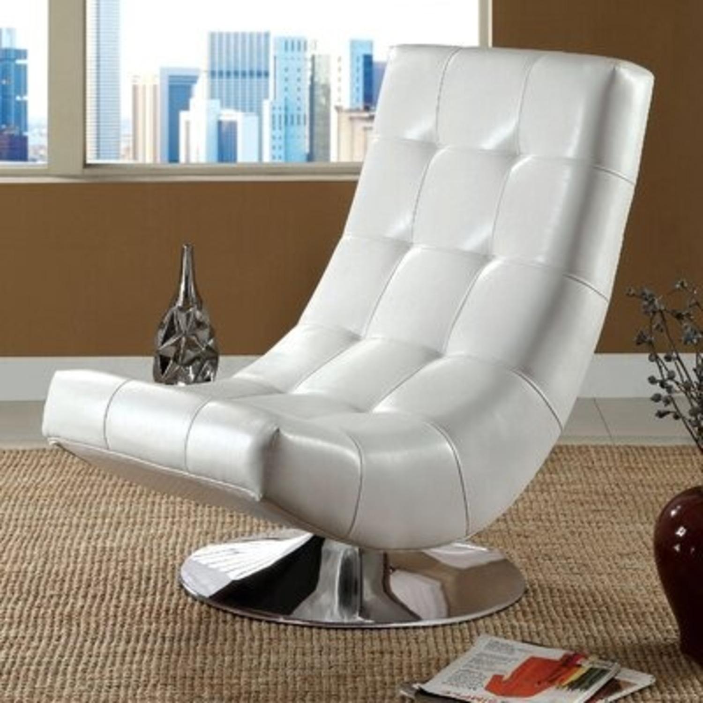 Modern Sleek Swivel Faux Leather Lounge - image-2