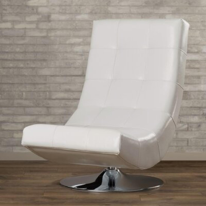 Modern Sleek Swivel Faux Leather Lounge - image-1
