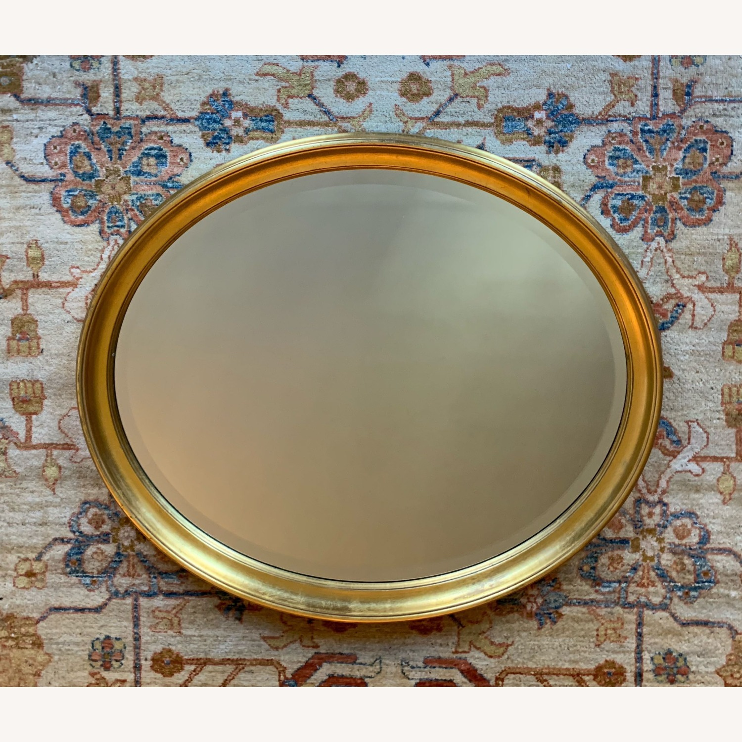 Oval Giltwood Frame with Beveled Mirror - image-1