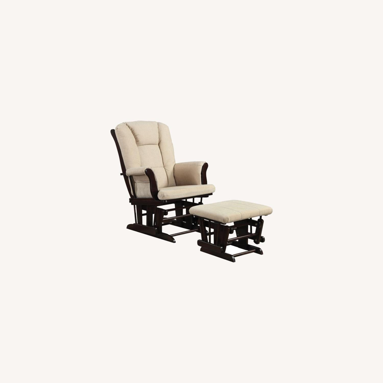 Glider W/ Ottoman In Beige Microfiber Upholstery - image-5