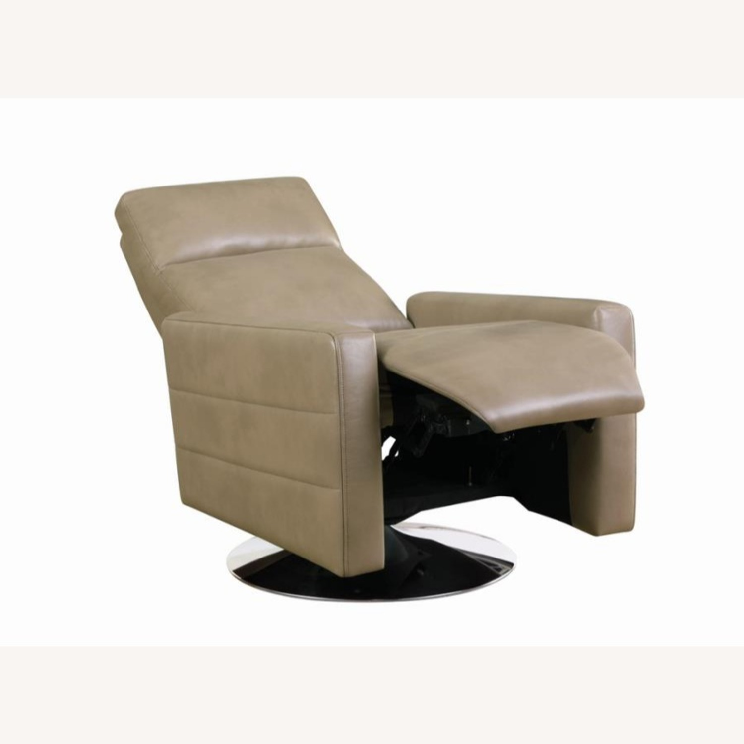 Swivel Recliner Upholstered In Taupe Performance - image-1