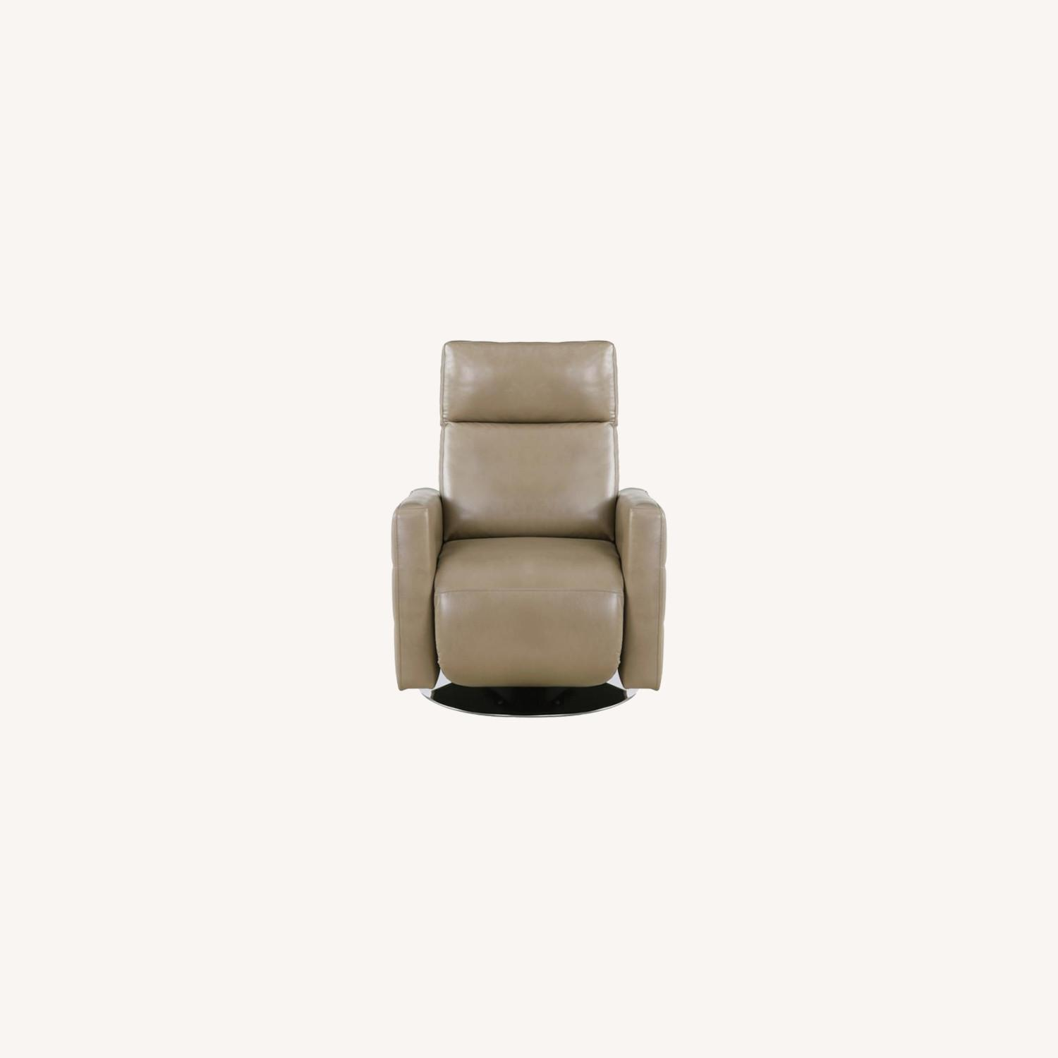 Swivel Recliner Upholstered In Taupe Performance - image-6