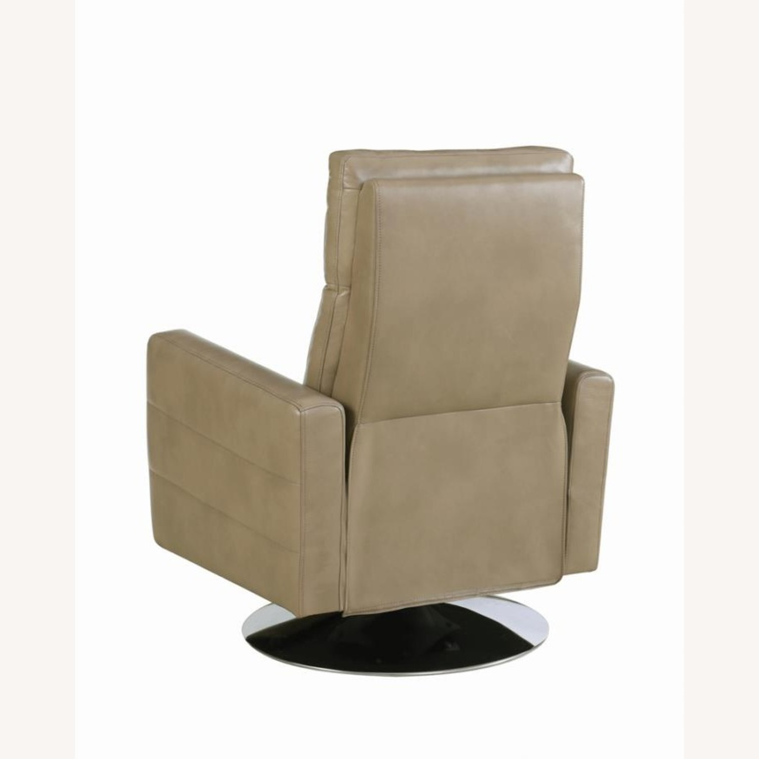 Swivel Recliner Upholstered In Taupe Performance - image-4
