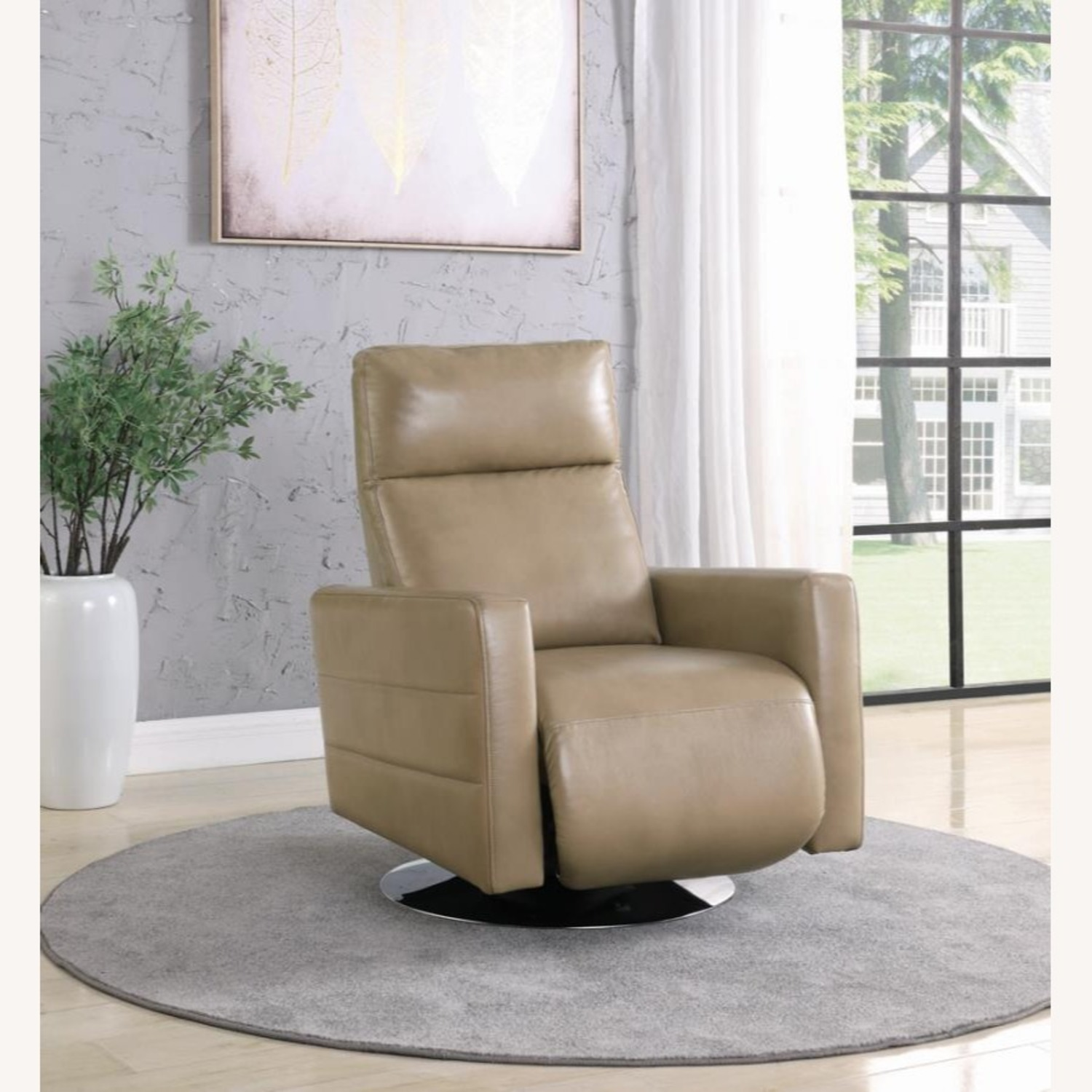 Swivel Recliner Upholstered In Taupe Performance - image-5