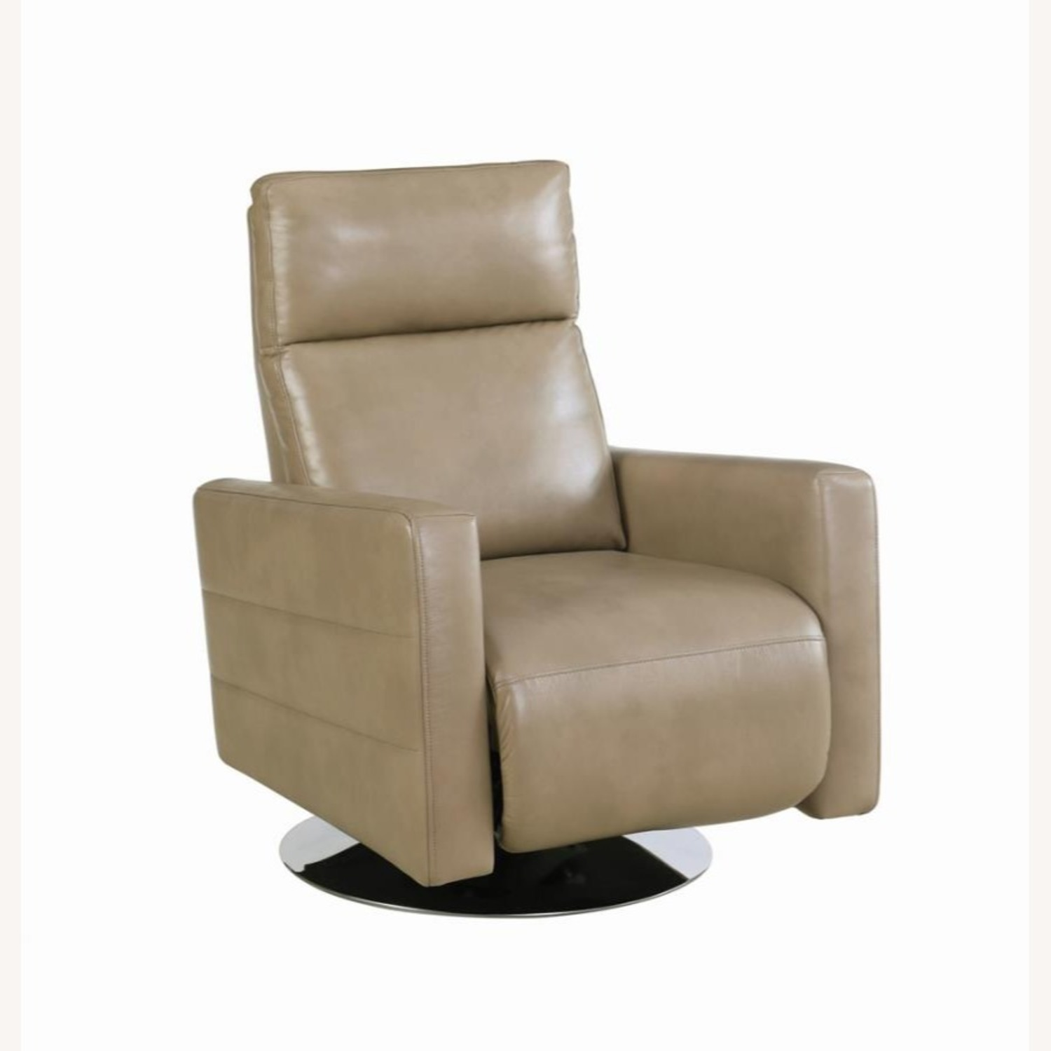 Swivel Recliner Upholstered In Taupe Performance - image-0