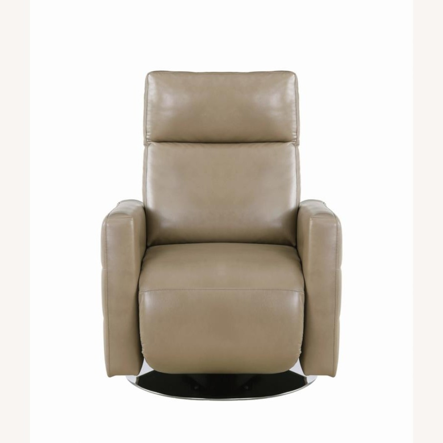 Swivel Recliner Upholstered In Taupe Performance - image-2