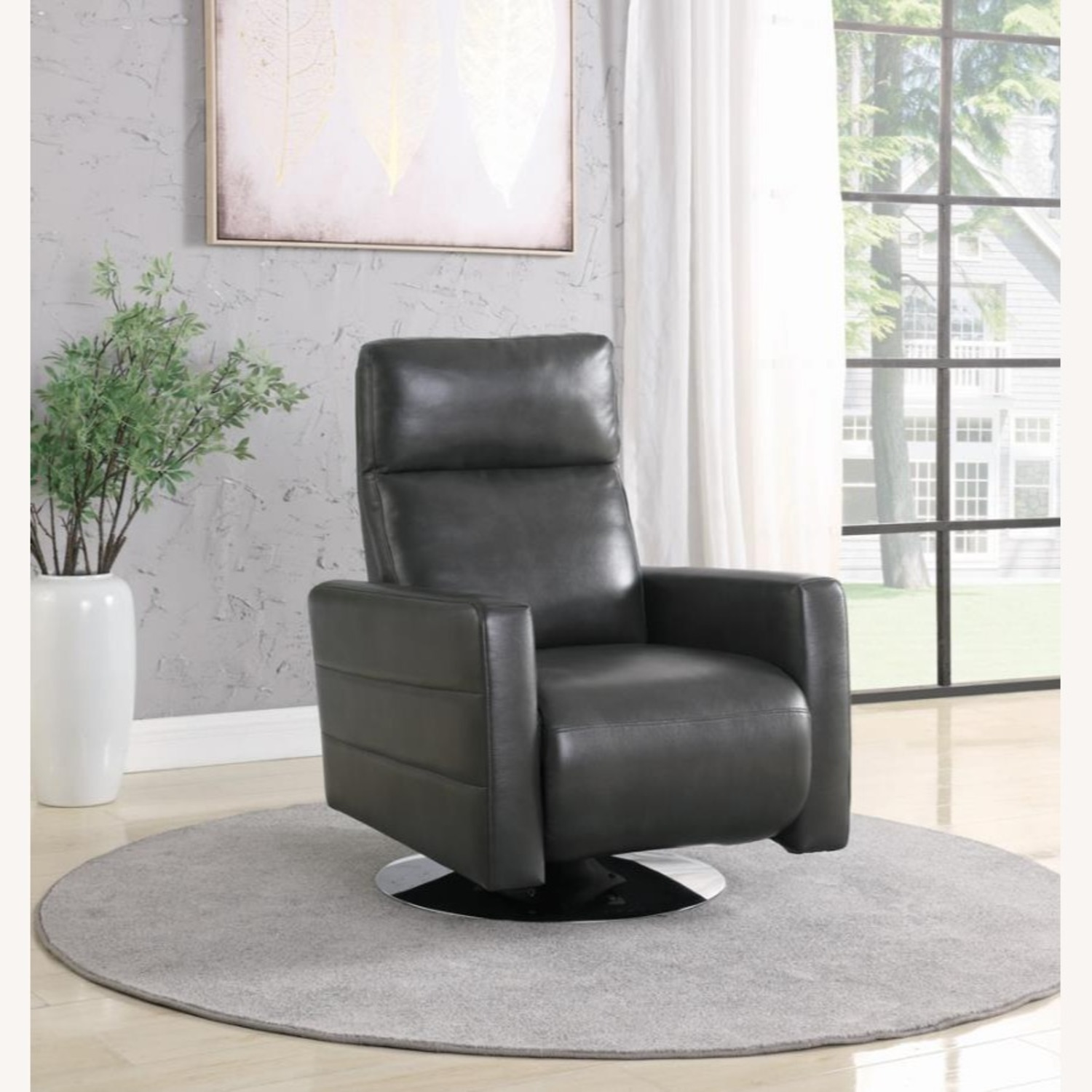 Swivel Recliner In Grey Performance - image-5