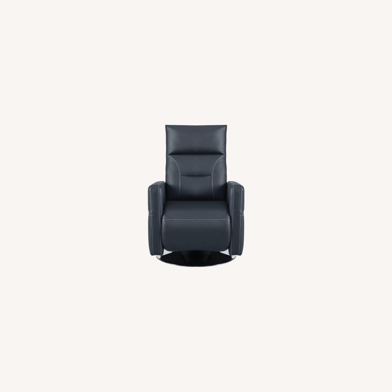 Swivel Push-Back Recliner In Ink Blue Velvet - image-6