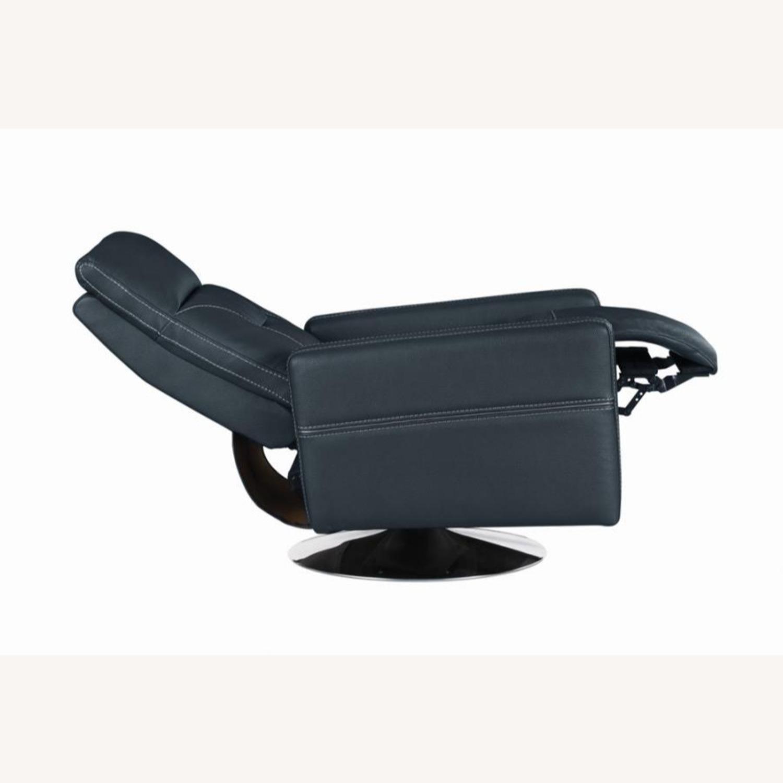 Swivel Push-Back Recliner In Ink Blue Velvet - image-3