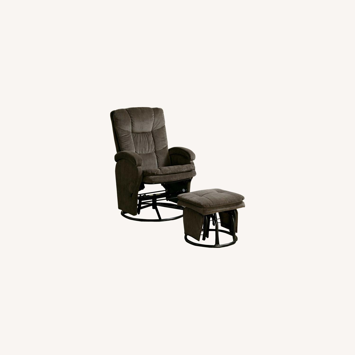 Glider W/ Ottoman In Chocolate Chenille Upholstery - image-4