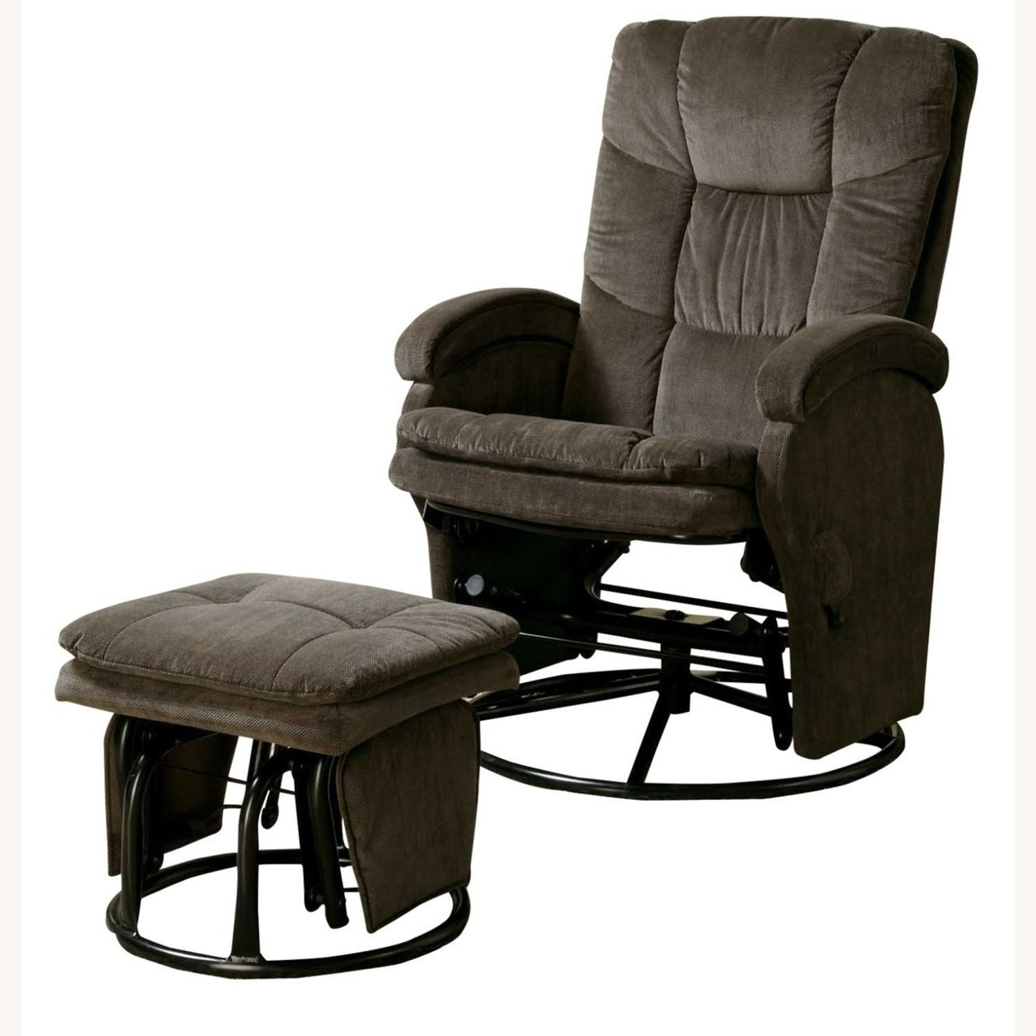 Glider W/ Ottoman In Chocolate Chenille Upholstery - image-1