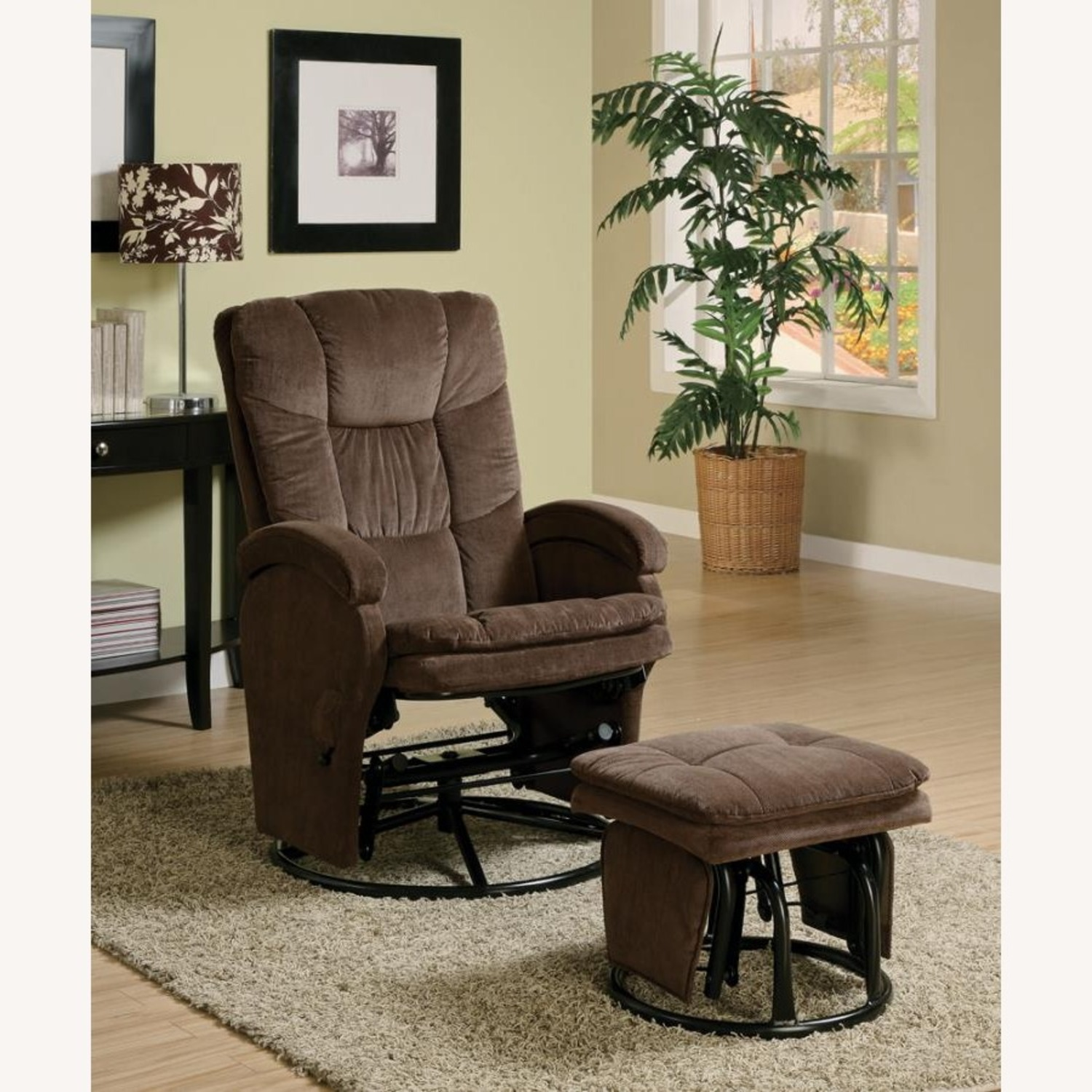 Glider W/ Ottoman In Chocolate Chenille Upholstery - image-3