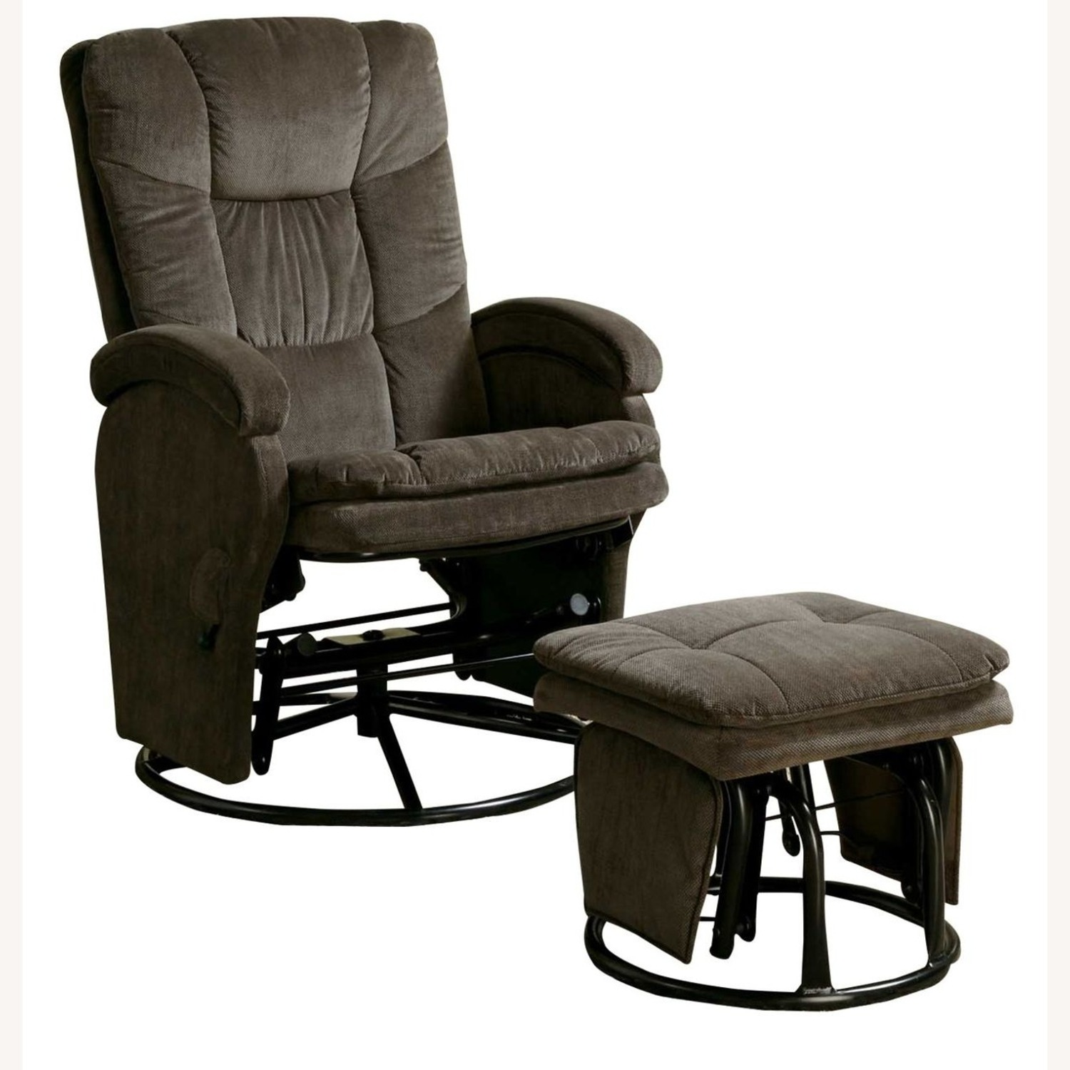 Glider W/ Ottoman In Chocolate Chenille Upholstery - image-0