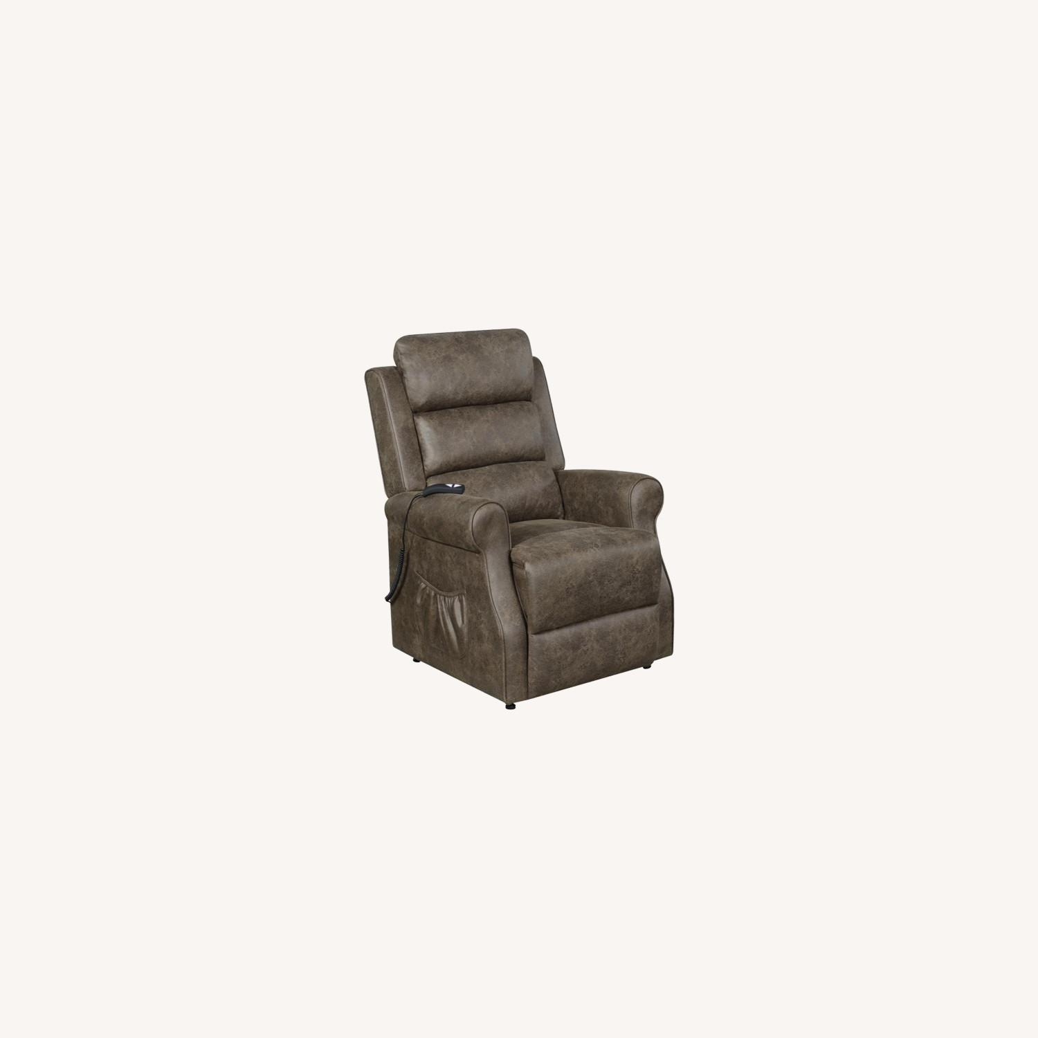 Power Lift Recliner In Brown Faux Suede Upholstery - image-7