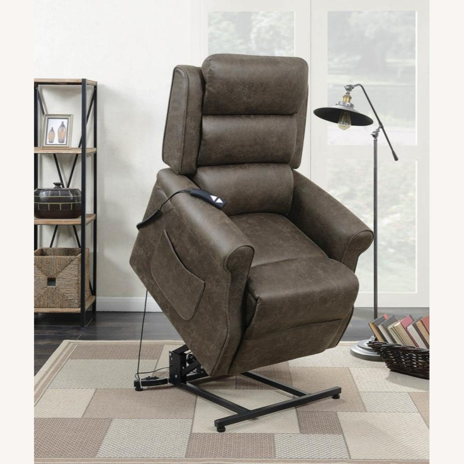 Power Lift Recliner In Brown Faux Suede Upholstery - image-6
