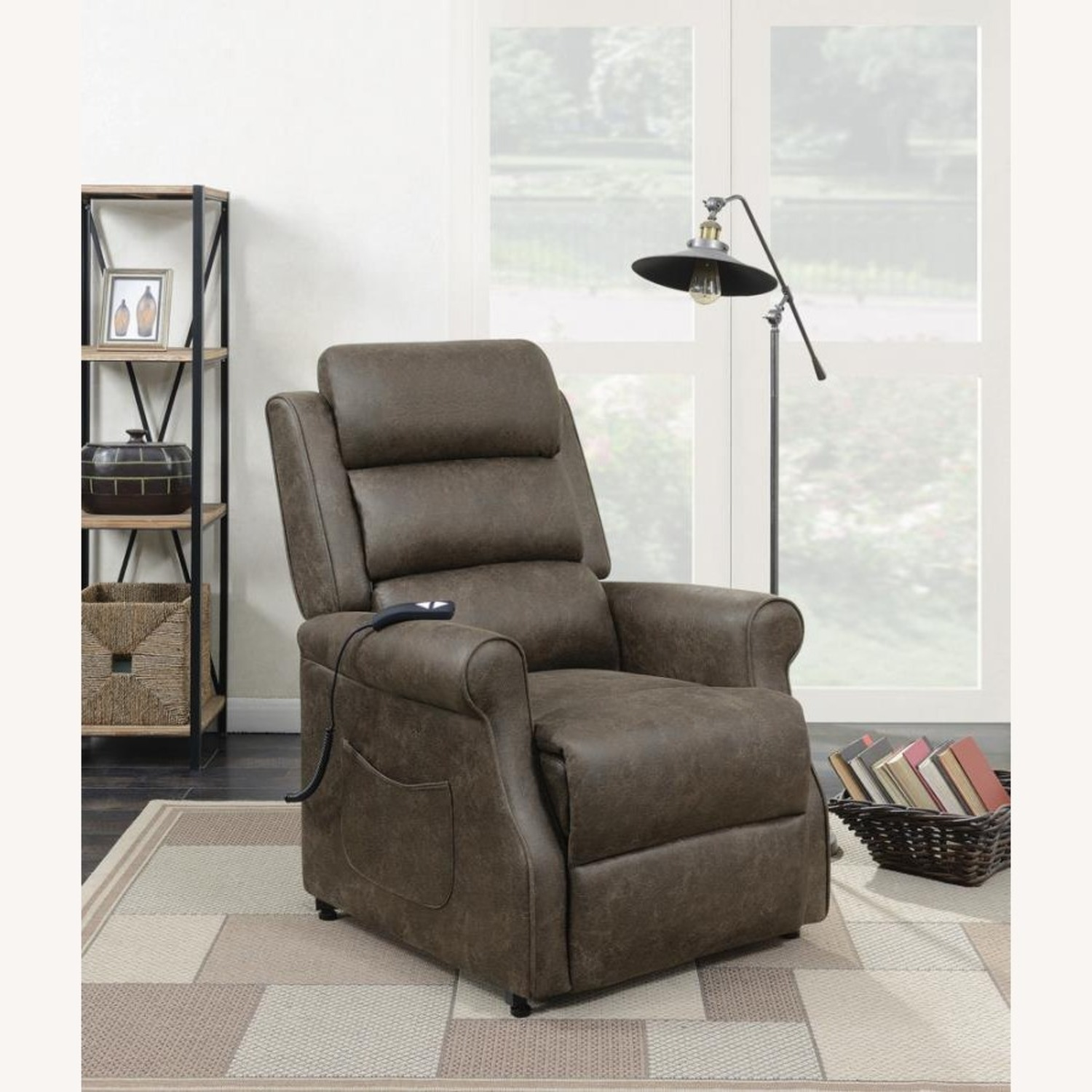Power Lift Recliner In Brown Faux Suede Upholstery - image-5