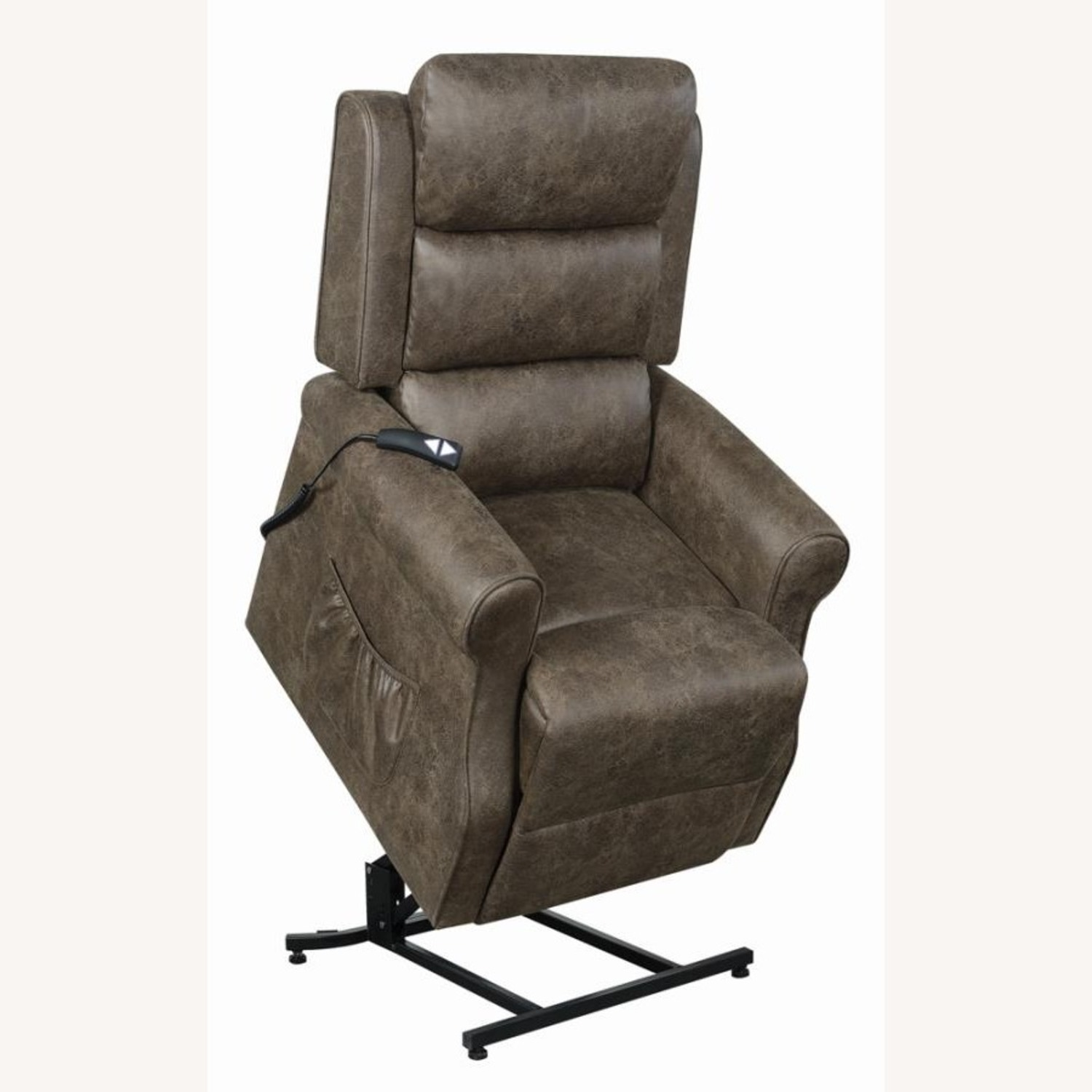 Power Lift Recliner In Brown Faux Suede Upholstery - image-3