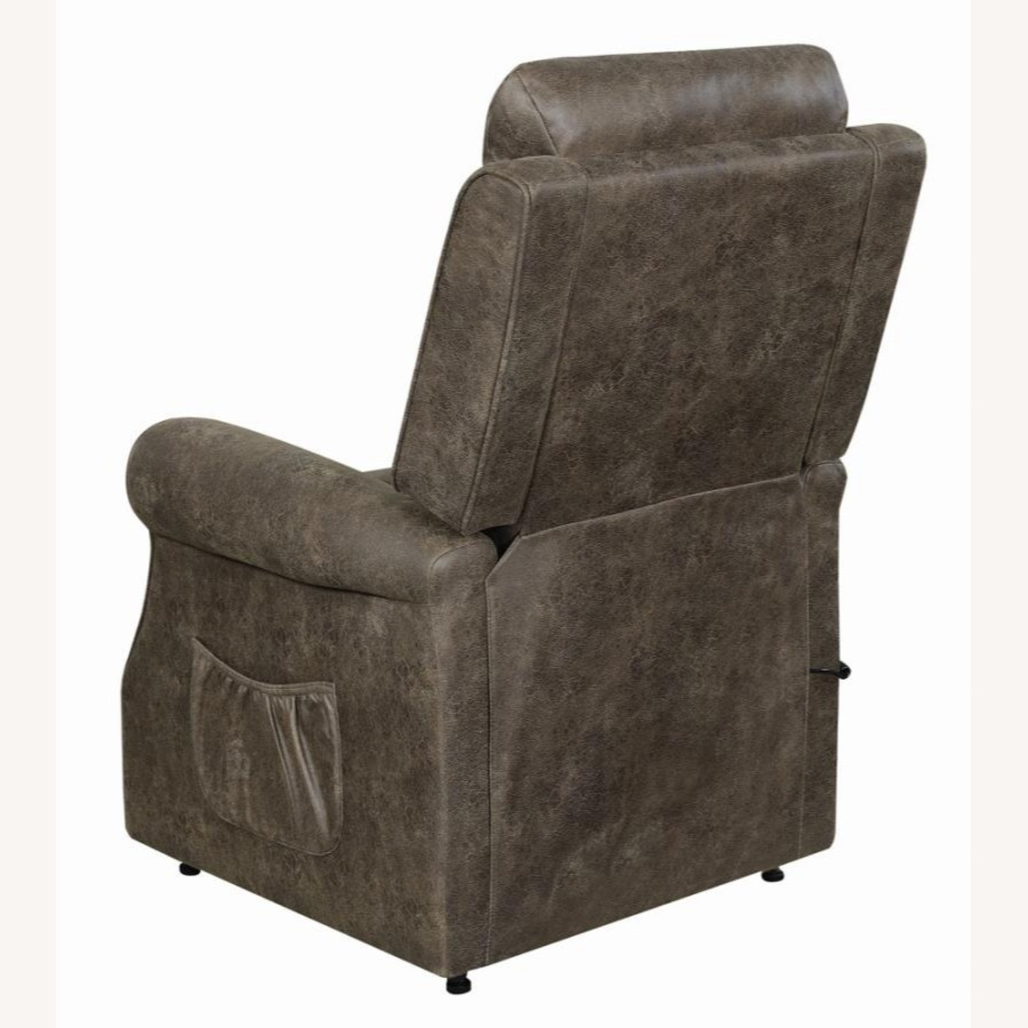 Power Lift Recliner In Brown Faux Suede Upholstery - image-4