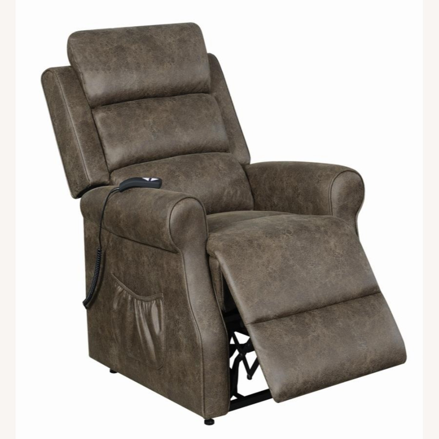 Power Lift Recliner In Brown Faux Suede Upholstery - image-2