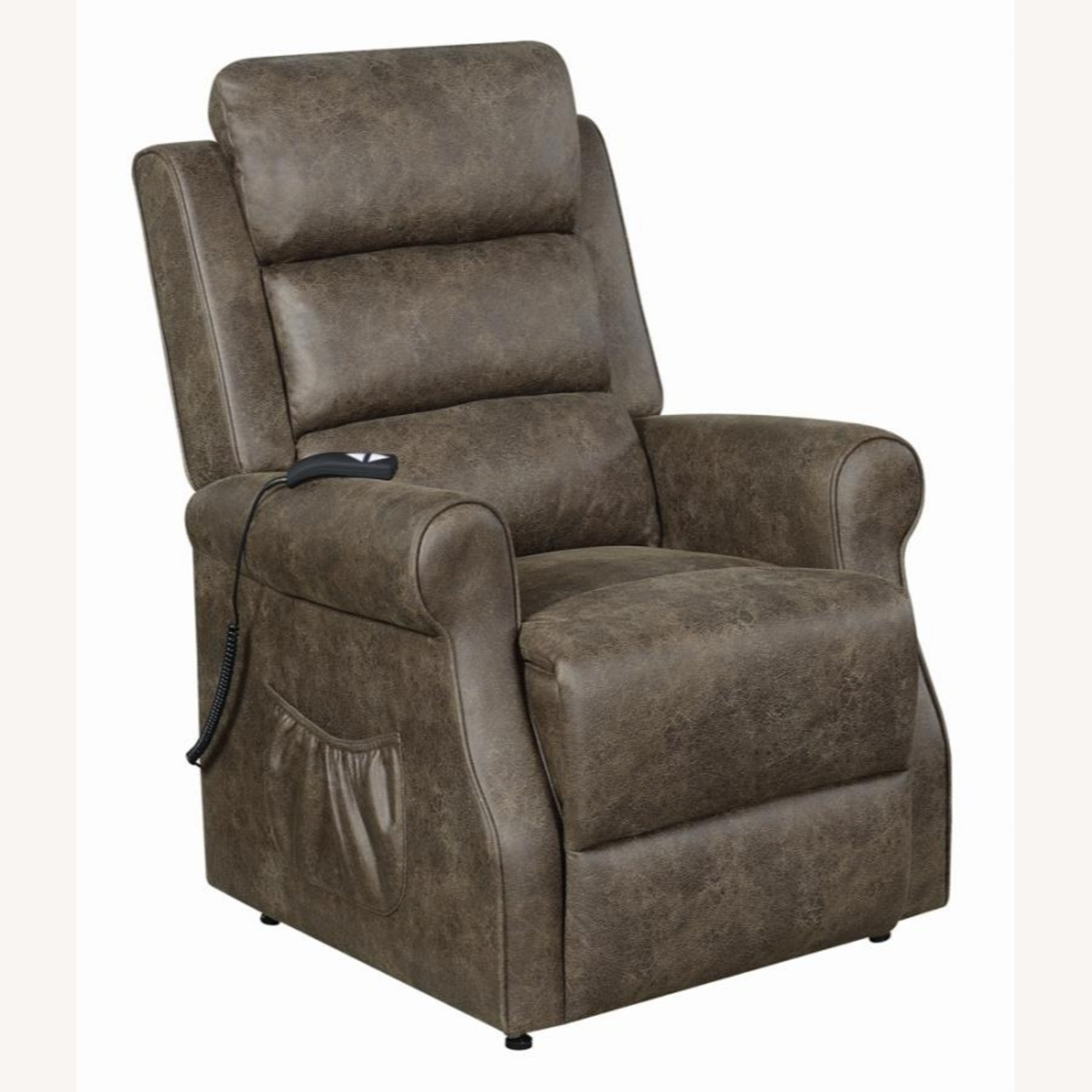 Power Lift Recliner In Brown Faux Suede Upholstery - image-0