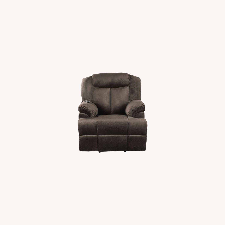 Power Lift Recliner In Chocolate Velvet Upholstery - image-9