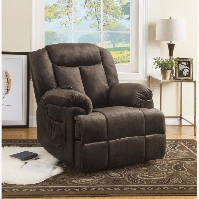 Power Lift Recliner In Chocolate Velvet Upholstery - image-8