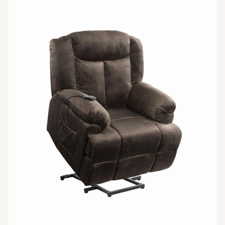 Power Lift Recliner In Chocolate Velvet Upholstery - image-2
