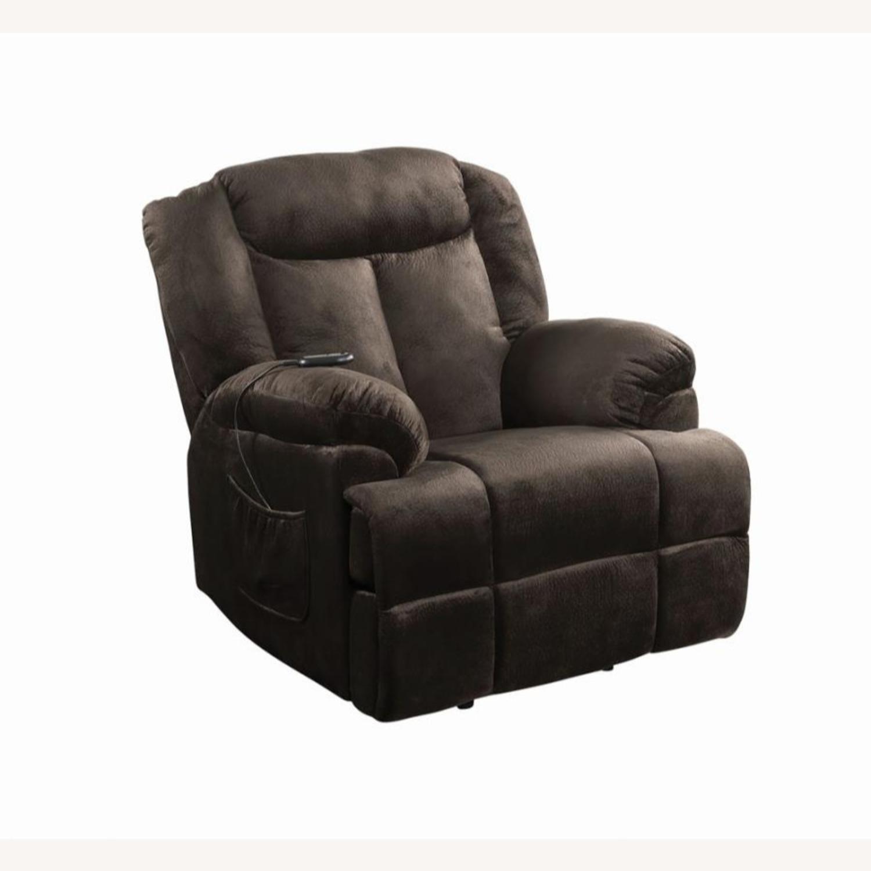 Power Lift Recliner In Chocolate Velvet Upholstery - image-0