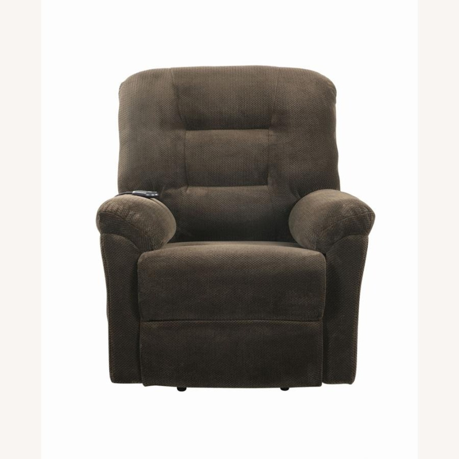 Power Lift Recliner In Chocolate Chenille Fabric - image-3