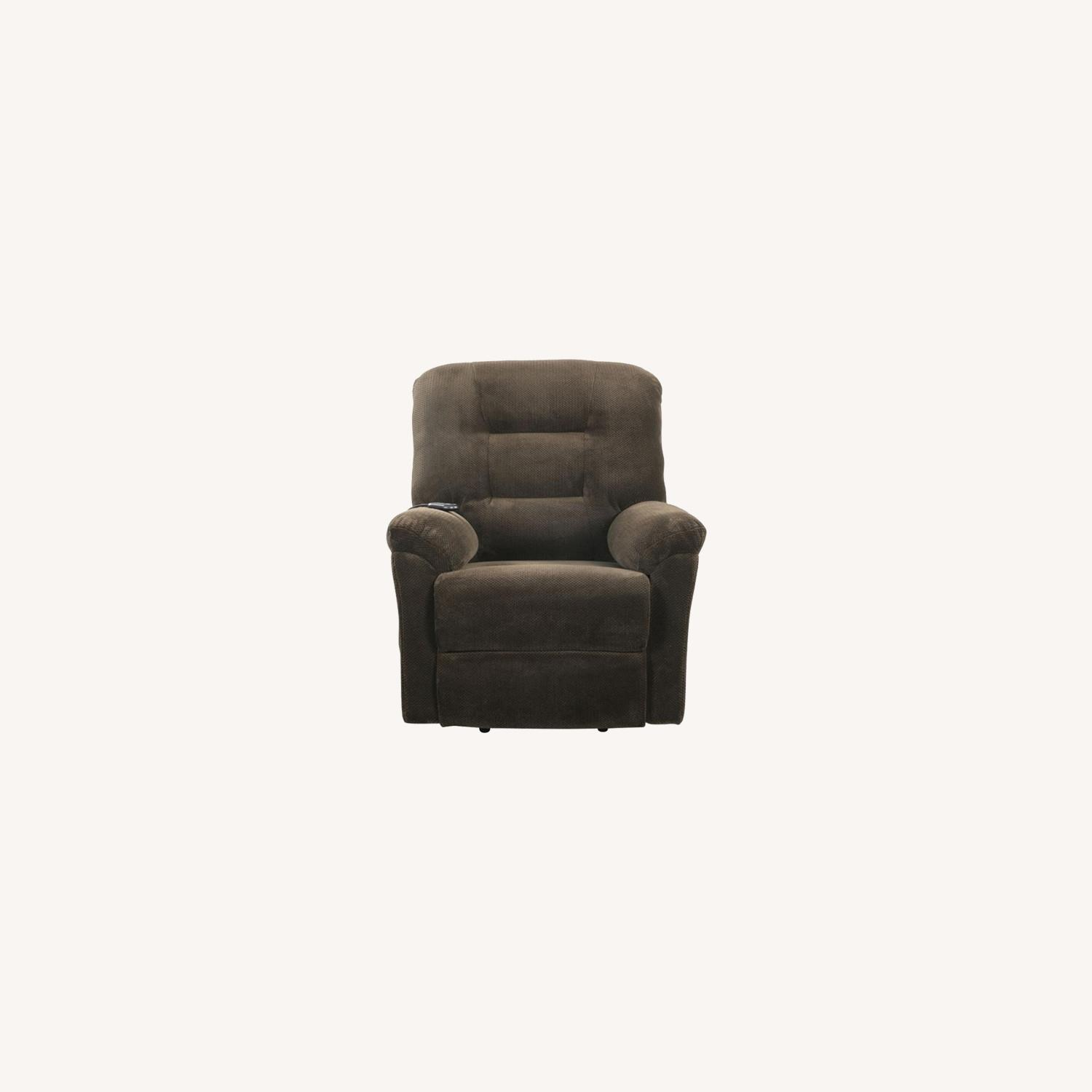 Power Lift Recliner In Chocolate Chenille Fabric - image-9