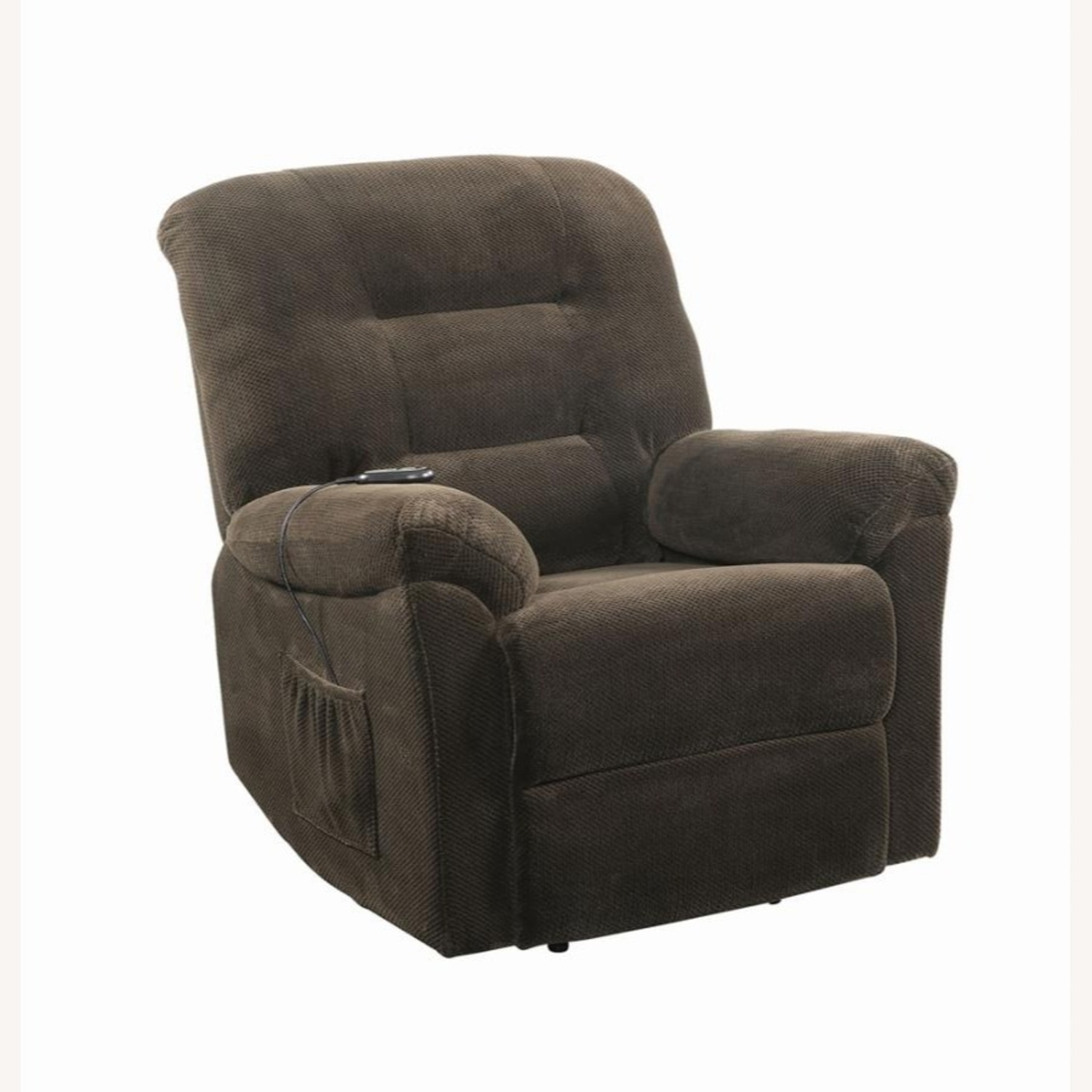 Power Lift Recliner In Chocolate Chenille Fabric - image-0