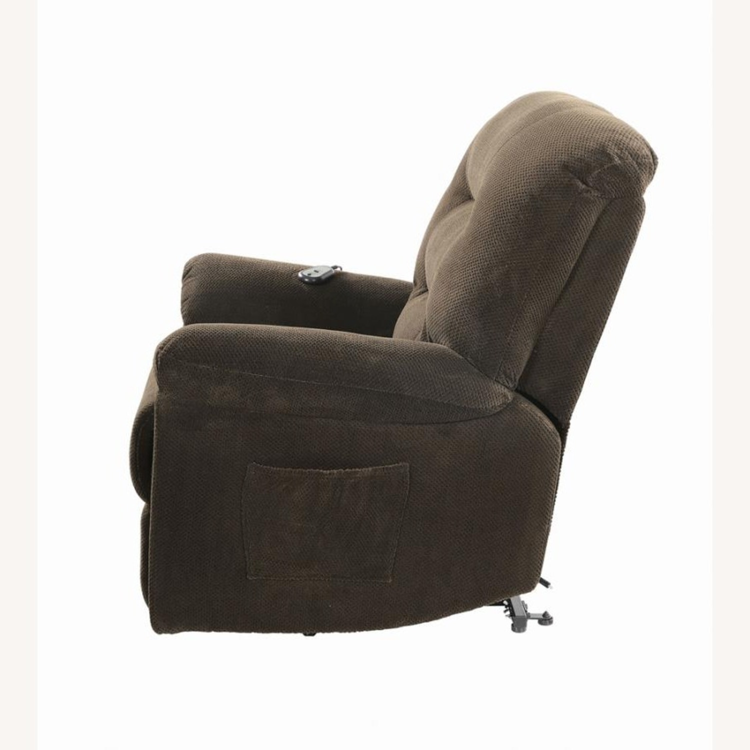 Power Lift Recliner In Chocolate Chenille Fabric - image-4