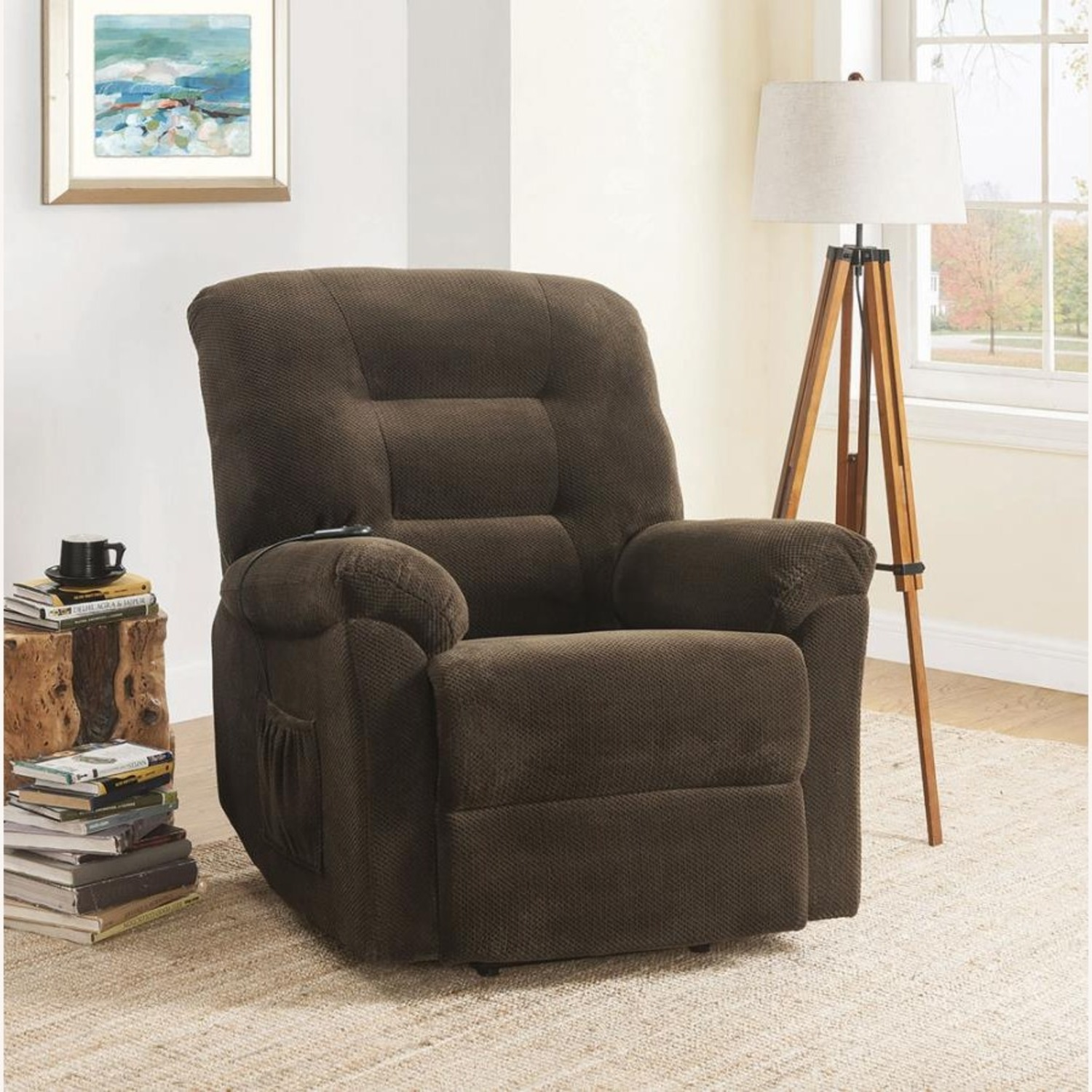Power Lift Recliner In Chocolate Chenille Fabric - image-8