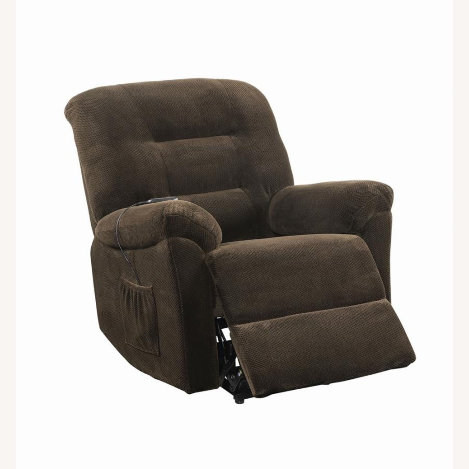 Power Lift Recliner In Chocolate Chenille Fabric - image-1