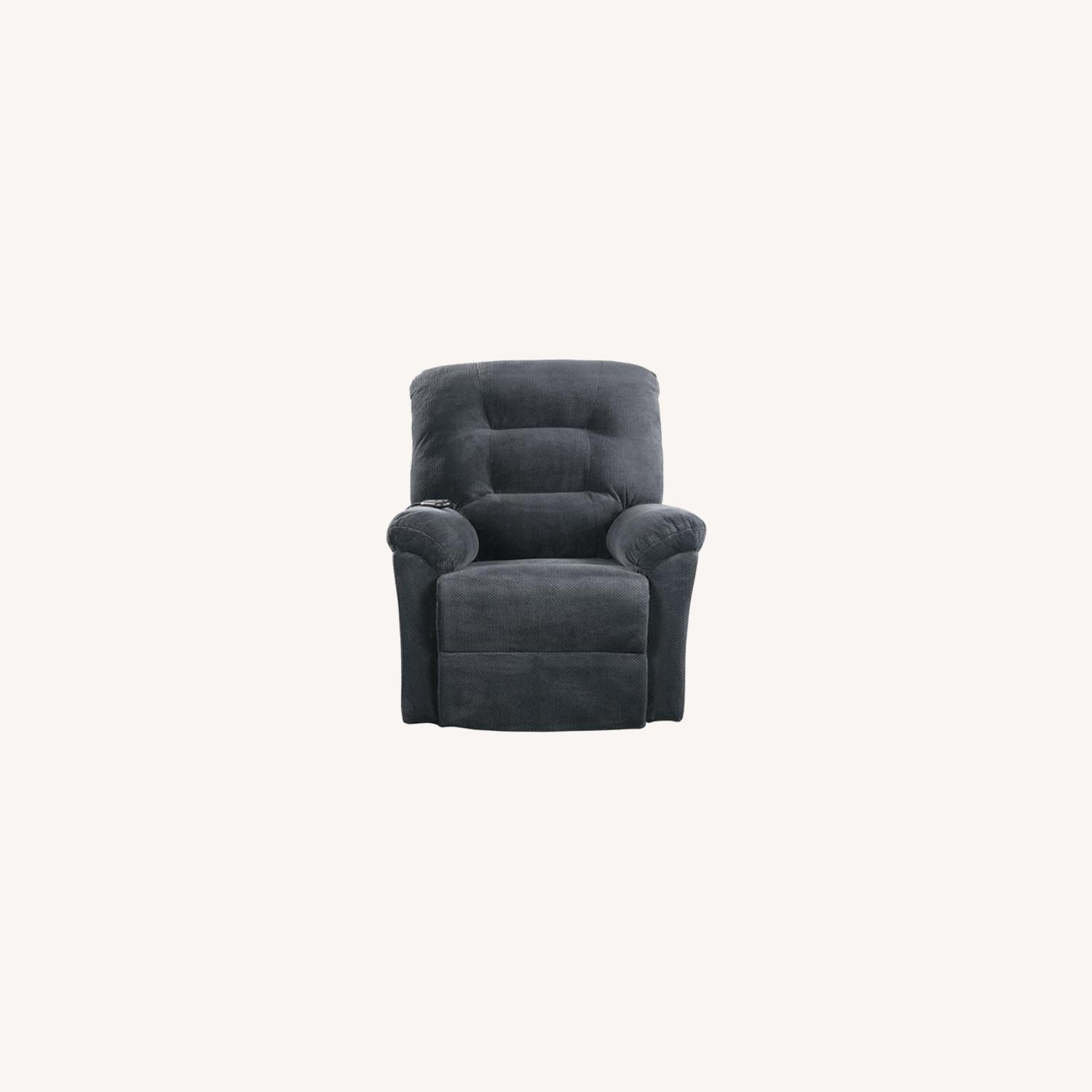 Power Lift Recliner In Charcoal Chenille Fabric - image-9