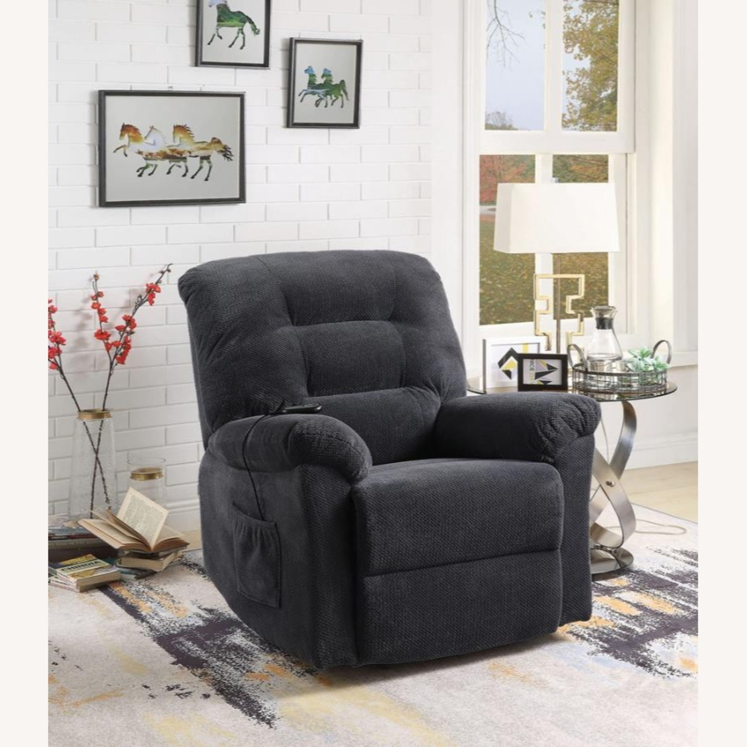 Power Lift Recliner In Charcoal Chenille Fabric - image-8