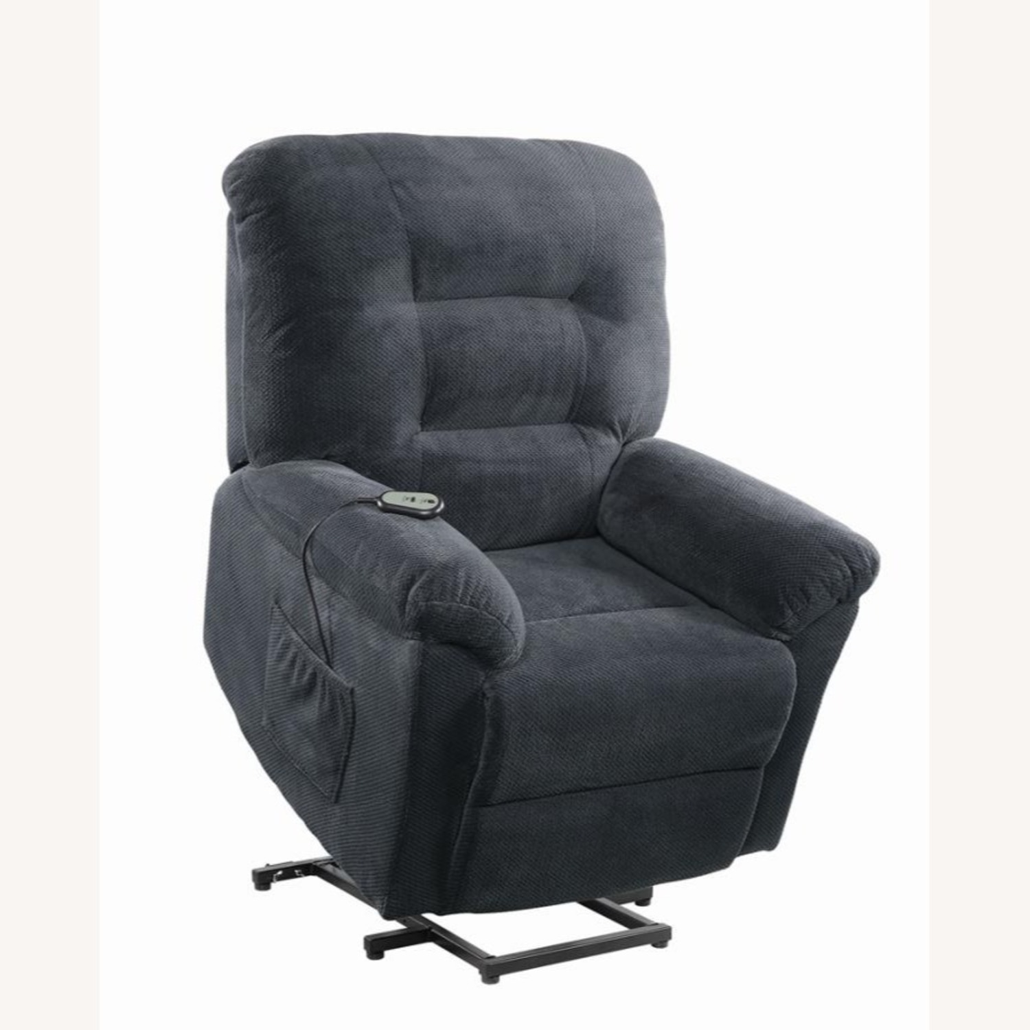 Power Lift Recliner In Charcoal Chenille Fabric - image-2